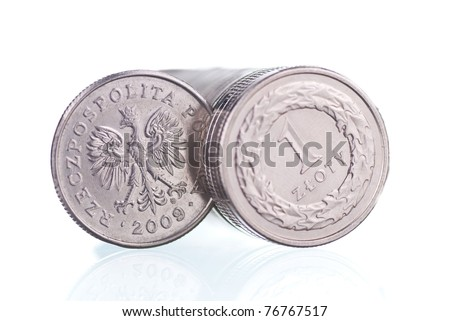 Polish one Zloty coins background
