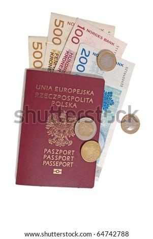 Polish passport and money isolated on white