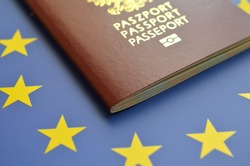 Polish passport with the symbols of the European Union