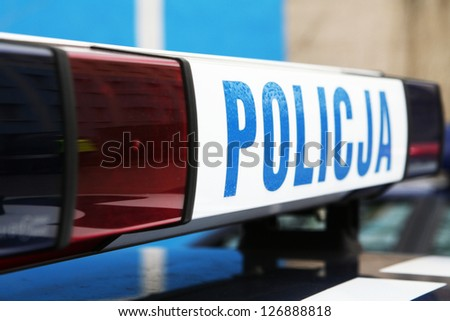 Polish police inscription - stock photo