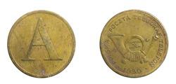 Polish telephone token on a white isolated background