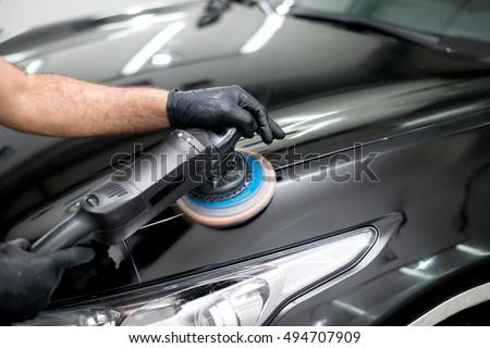 Polished black car polishing machine polished finishing Stock photo ©