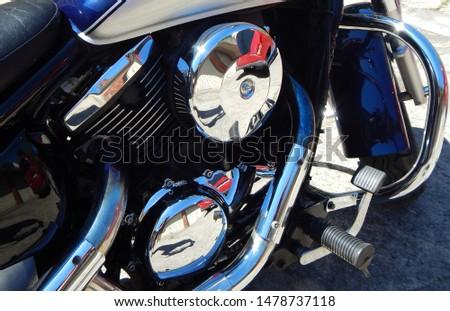 Polished chrome elements of a motorbike engine #1478737118