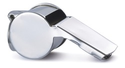 Polished silver referees whistle image