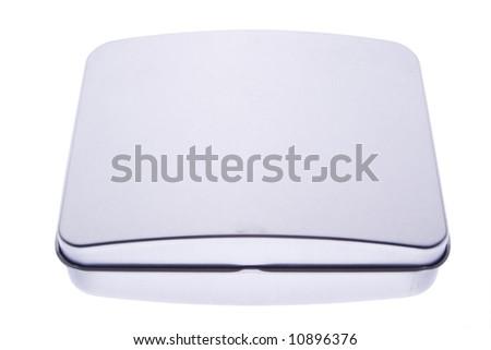 polished steel box isolated on white