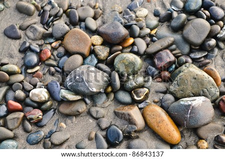 Polished Stones on a beach in Northern California