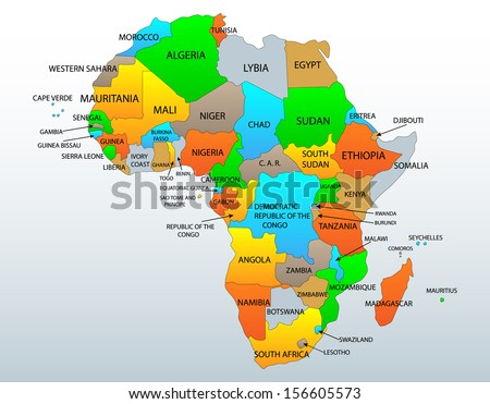World map labeled clearly political and location map of african continent countries gumiabroncs Choice Image