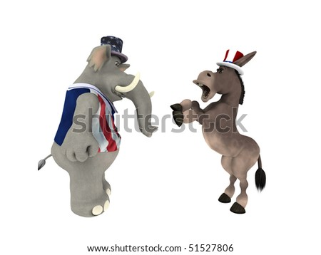 Political Argument Republican Elephant arguing with a DNC Democrat Donkey. Isolated on a white background
