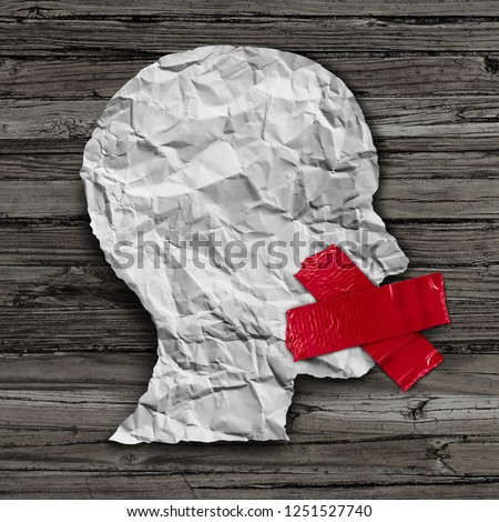 Political correctness and politically correct communication restriction concept as a paper head with red tape on the mouth in a 3D illustration style.