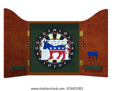 Political Darts - Democrat Dart board with image of Democrat donkey with three darts stuck in it. Political humor