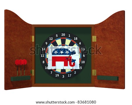 Political Darts - Republican Dart board with image of GOP elephant with three darts stuck in it. Political humor