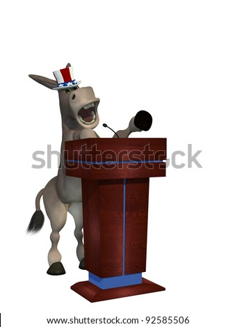 Political Debate - Democrat Donkey pointing his hoof behind a podium while giving a passionate speech.