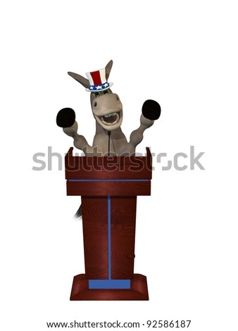 Political Debate - Smiling Democrat Donkey with arms raised behind a podium while giving a passionate speech.