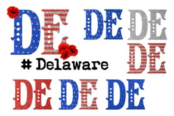 Political divisions of the US. Territory abbreviation. Patriotic clip art on white background. State Delaware