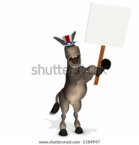 Political Donkey with Blank Sign - Democrat