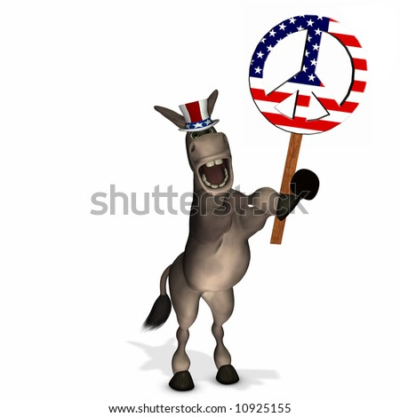 Political Donkey with Peace Sign - Democrat