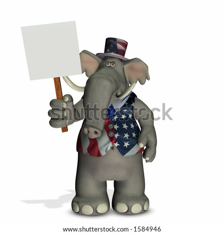 Political Elephant with Blank Sign - Republican