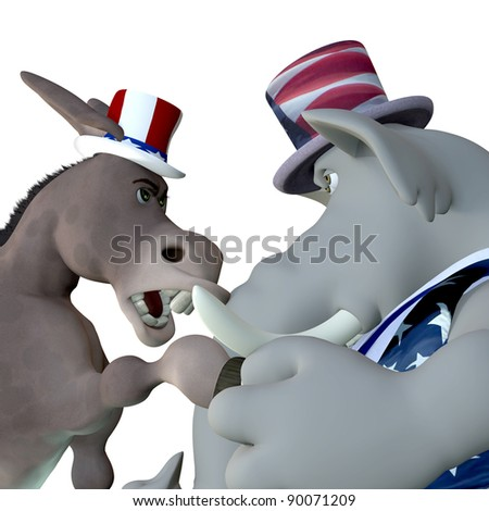 Political Head to Head.  Political donkey and elephant head to head arguing. Isolated on white.