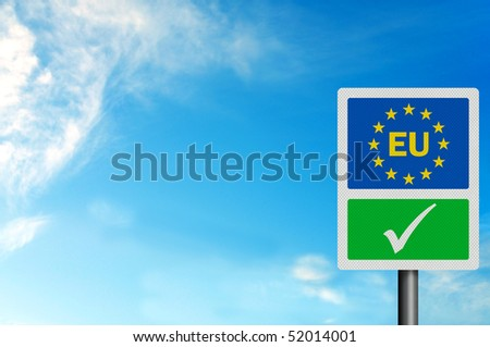 Political issues series: 'Yes to the EU' concept, with EU lettering. Photo realistic, with space for your text / editorial overlay
