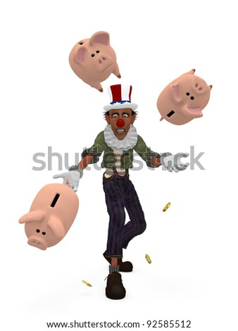 Political Juggling Clown - A political clown juggling piggy banks when he misses one. Political humor. - stock photo
