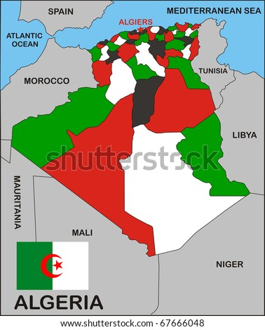 political map of Algeria country with flag