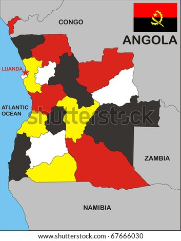 political map of Angola country with flag