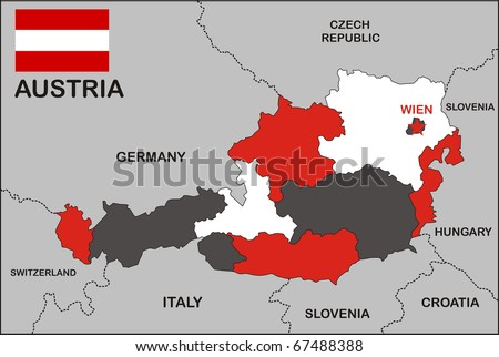 political map of Austria country with flag