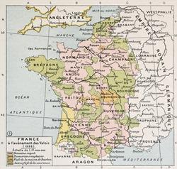 Political map of France in 1328. By Paul Vidal de Lablache, Atlas Classique, Librerie Colin, Paris, 1894