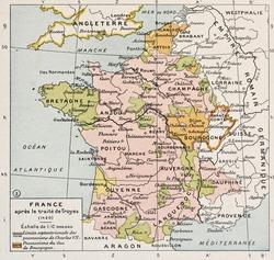Political map of France in 1420. By Paul Vidal de Lablache, Atlas Classique, Librerie Colin, Paris, 1894