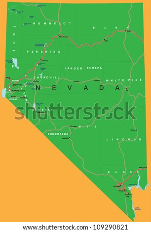 Political map of Nevada state