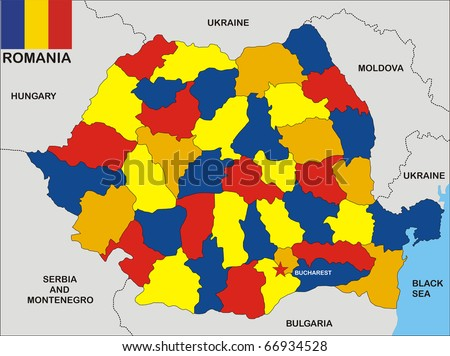 stock photo : political map of Romania country with flag and regions