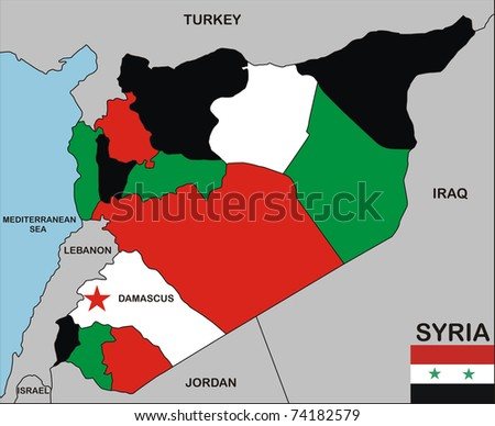 political map of syria country with neighbors and national flag