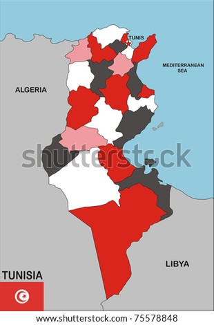 political map of Tunisia country with flag illustration - stock photo