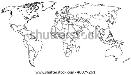 political map of world with country territories