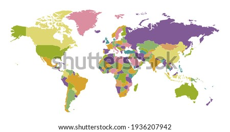 Political map. Worlds countries on colored graphic map geographical template