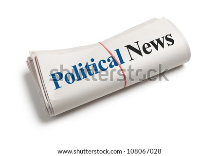 Political News, Newspaper Roll with white background