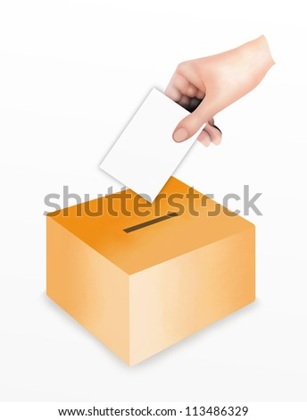 Political power, Hand Putting A Voting Ballot in to A Slot of Box for Casting Their Vote. Isolated on White Background