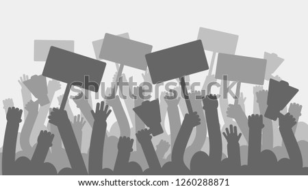 Political protest with silhouette protesters hands holding megaphone, banners and flags. Strike, revolution, conflict background
