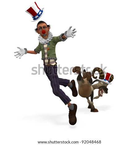Political Ram.  A single ram, wearing a red, white, and blue hat, to represent angry American voters kicking a political clown. Political humor.