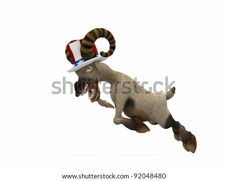 Political Ram.  A single ram, wearing a red, white, and blue hat, to represent angry American voters. Political humor.