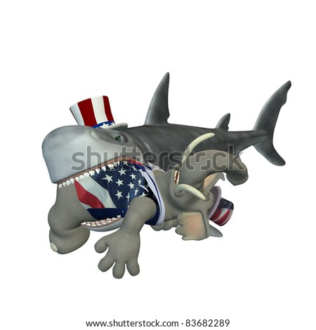 Political Shark - Republican. A cartoon shark with a Republican elephant in his mouth. Political humor.