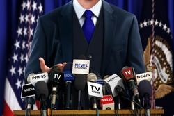 Politician at Press Conference