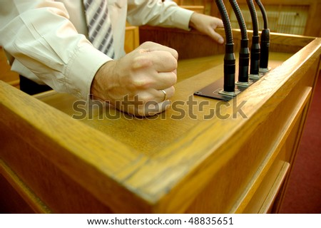 Politician in parliamentary speech, speech concept