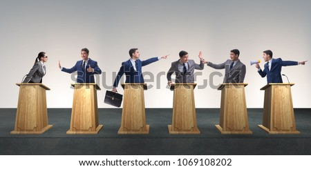 Photo of  Politicians participating in political debate
