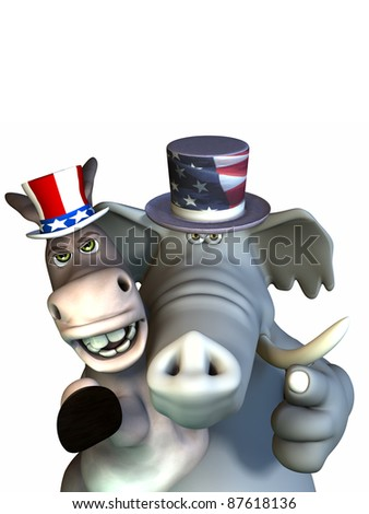 Politics - Siamese Twins. Republican Elephant and Democrat Donkey sharing one body.  Looking stern and pointing at the viewer.