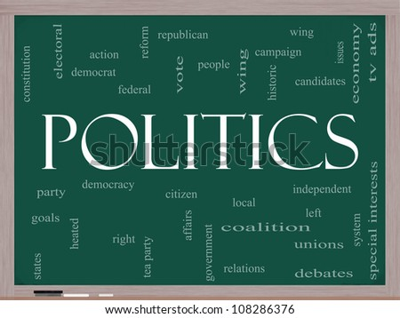 Politics Word Cloud Concept on a Blackboard with great terms such as democracy, parties, democrats, republicans and more