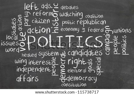 politics word cloud on blackboard