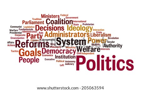 Politics Word Cloud: word cloud illustrating the words associated with politics like government rules and different types of political system and its philosophy and policies