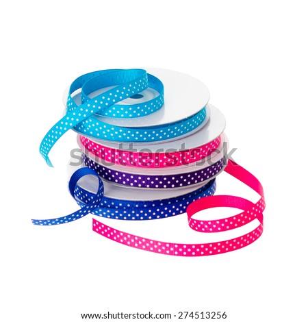 polka dot ribbon rolls isolated on white background stock photo 274513256 shutterstock