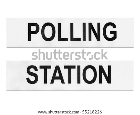 Polling station place for voters to cast ballots in elections - isolated over white background